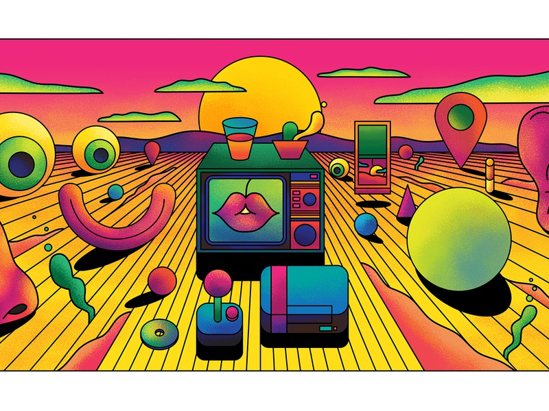 Vices - Wow x Wow psychedelic art psychedelic landscape surreal texture clean bright retro vector fun art show exhibition art direction illustration