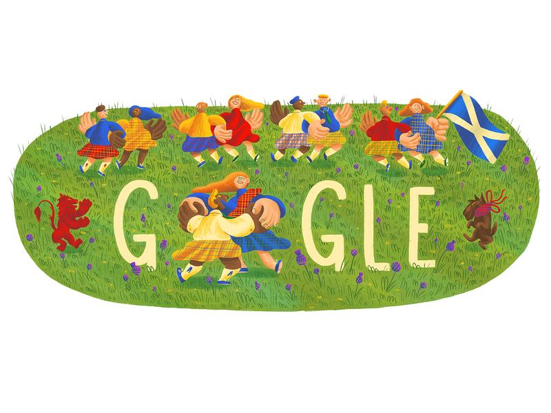 Google Doodle - St Andrews day lion rampant saltire dancing typography type doodle st andrews day scotland scots scottish drawn google doodle commission google character design illustration