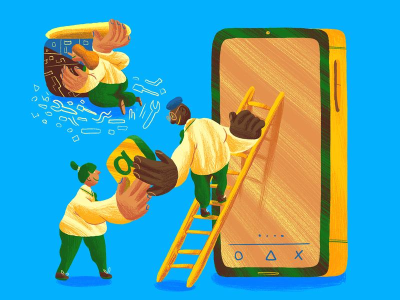 Entrepreneurialism in Schools ambition phone app pupils schools students education illo editorial art editorial illustration illustration