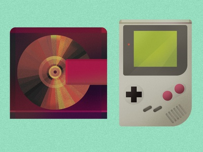 Gameboy and  Minidisc music themed icons items illustration microphone mike lips teeth mouth