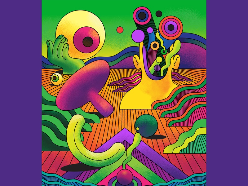 Wild Ideas to Blow your Mind - BBC Science Focus Magazine science landscape surreal psychedelic psychedelic art vector vivd bright editorial illustration editorial art editorial color graphic illustration