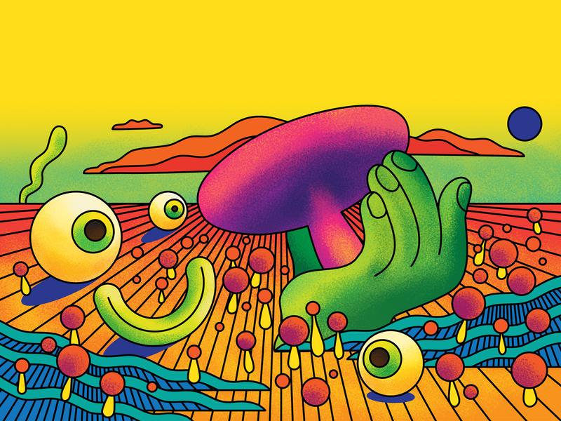 Mushrooms - BBc Science Focus Magazine editorial illustration editorial art editorial psychedelic vivd bright surreal landscape bbc commission science colour color graphic illustration