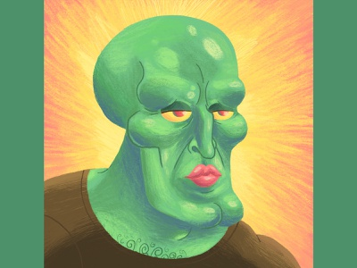 Handsome Squidward - Memes Art Show fun meme handsome squidward spongebob squarepants spongebob memes exhibition art show character design art direction illustration
