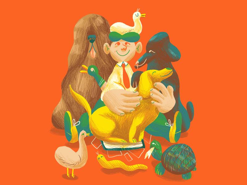 Animal Magnetism editorial art duck tortoise snake dogs animals bright illo education editorial illustration editorial character design colour illustration
