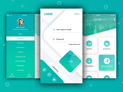 Institute App illustration vector typography design ui