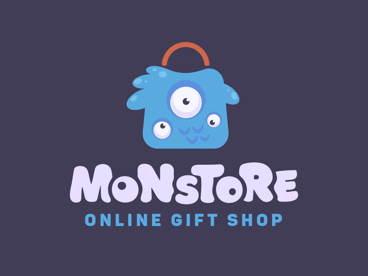 The Blue store monster shop gift brnding logo