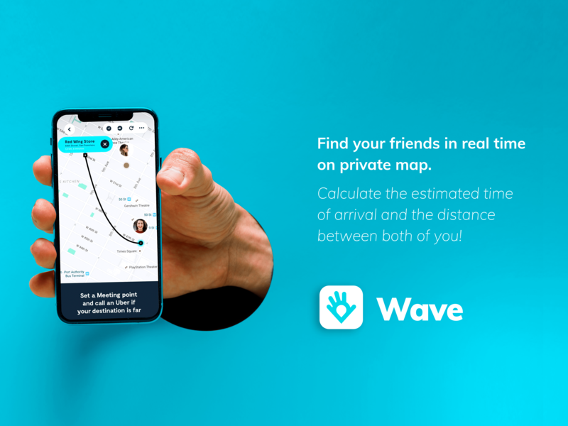 Mapping Application Design project - Wave application design application ui app design uidesign ui  ux find friends map app mapping adobe photosuite
