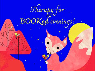 Therapy for Booked evenings Sticker Illustration storytelling bookshop fox illustration children book illustration childrens illustration illustration sticker design sticker illustration sticker