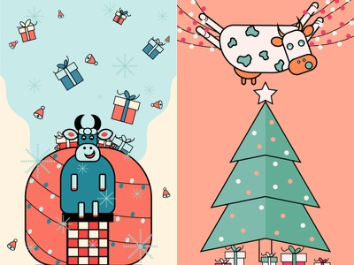 Christmas Illustrations for a contest flat colorful facebook banner facebook post childrens illustration children book illustration illustration gifts cow illustration cow christmas christmas tree christmas illustration