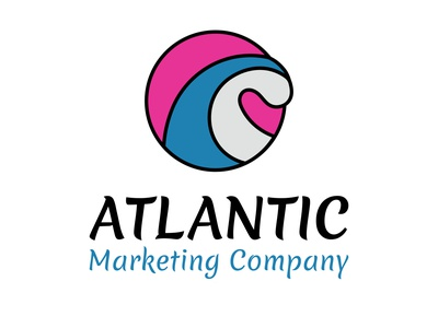 Atlantic Marketing Company Logo flat logo vector art branding illustration vector design colorful logo concept wave marketing logo atlantic logo