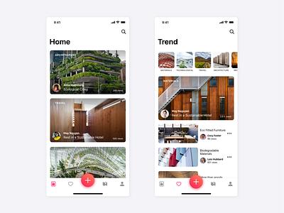 Prototype of Architecture Application ios design-app blog-app architecture-app app-design app card design ux ui
