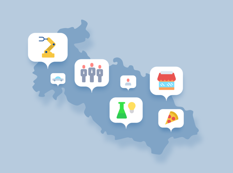 Map with icons illustration minimalist blue flat icons icon maps map