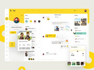 Flooks bets bet sport consept design chart chat message website web