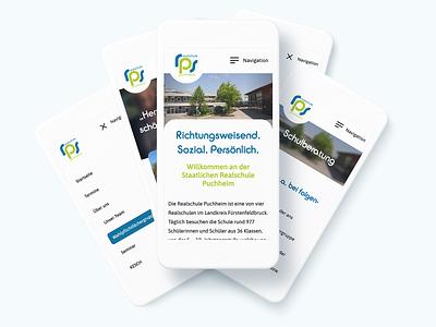 Realschule Puchheim – Mobile first web design germany school green education graphic design blue white webd design website logo digital design minimalistic clean