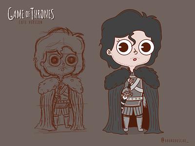 Game of Thrones Cute Version   Jon Snow stark got character design jon snow game of thrones illustration