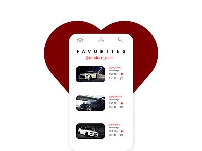Favorites Ui #044 favorites dailyui044 simple design social app vector typography daily 100 challenge newtodribbble ui  ux design ui ui100days ui100 new design dailyuichallenge dailyui