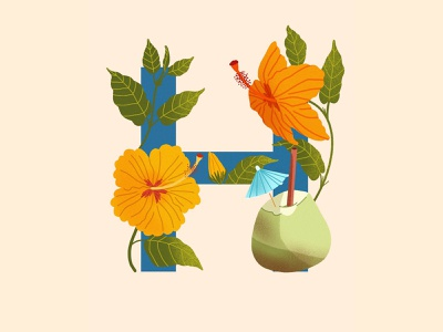 36 Days of Type H summer healthy food coconut hawaii hibiscus etsy typography typography poster graphic design childrens book children book illustration digital artist 36daysoftype08 36daysoftype ipadpro concept illustraion digital art flat  design