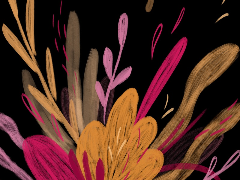 Virtual Garden textures leaf plant garden dribbble weekly warm-up black pink orange texture wacom intuos illustration digital drawing design