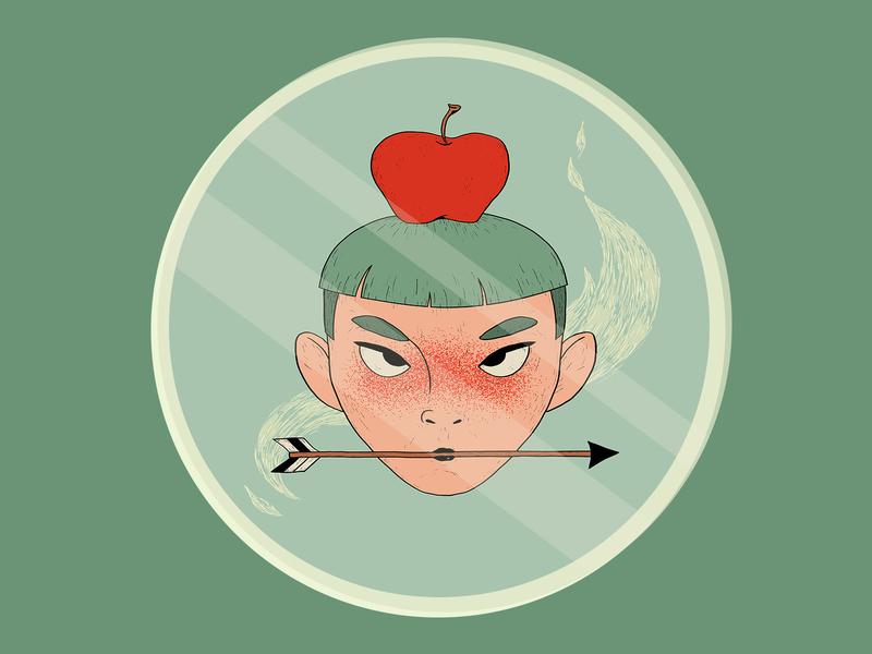 Apple Head apple play off sticker mule portrait wacom intuos illustration digital drawing design