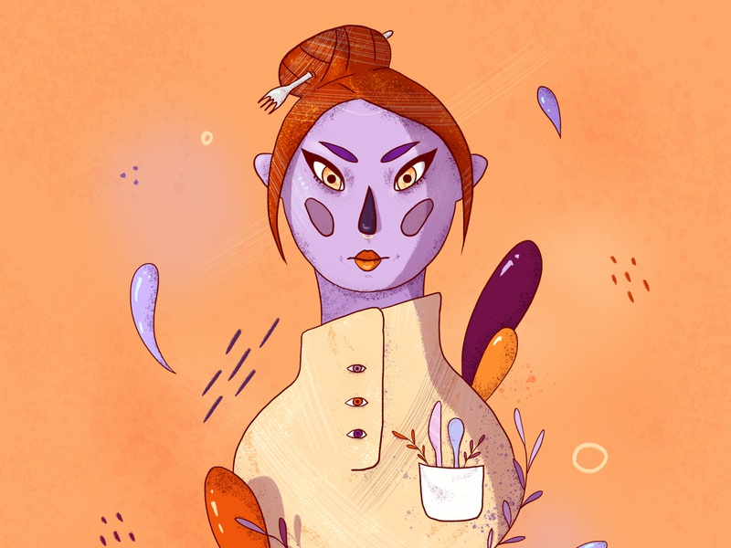 Chef wacom intuos girl character purple orange chef portrait character digital drawing design illustration