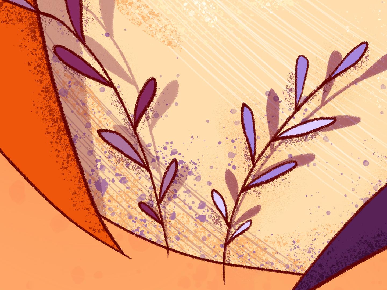 Chef. Details 2 leaves texture purple orange chef wacom intuos illustration digital drawing design