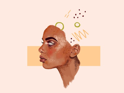 Out of head detailed portrait digital illustration girl texture portrait character wacom intuos illustration digital drawing design