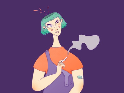 Smoky smoke orange purple girl character portrait character wacom intuos illustration digital drawing design