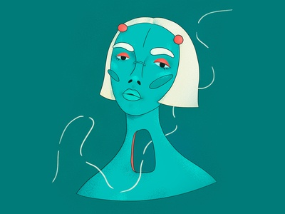 Tired hole turquoise red texture girl character portrait character wacom intuos illustration digital drawing design