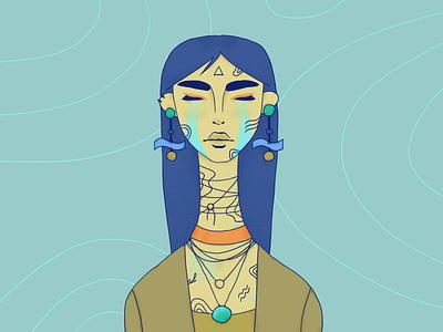 River redraw longhair spirit water green blue girl character texture portrait character wacom intuos illustration digital drawing design