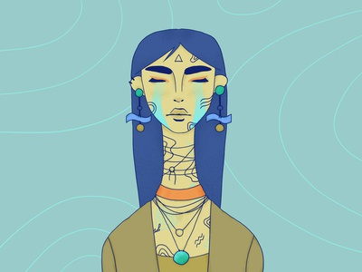 River redraw longhair spirit water green blue girl character texture portrait character wacom intuos illustration digital drawing design