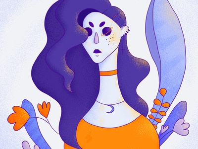Space Explorer space leaves surreal purple orange girl character texture character portrait wacom intuos illustration digital drawing design