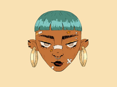Moon short hair turquoise lineart blue girl character character portrait wacom intuos illustration digital drawing design