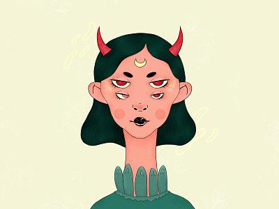 Demoness redraw red demon demoness surreal green girl character texture character portrait wacom intuos illustration digital drawing design