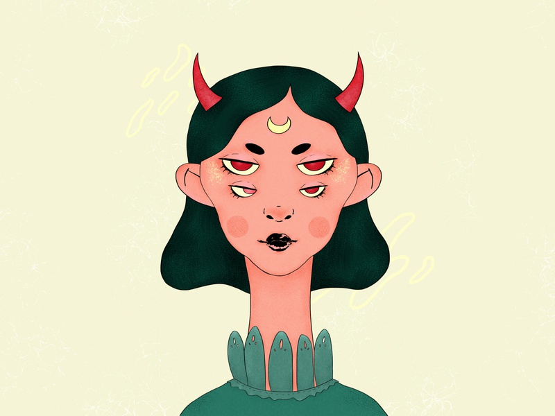 Demoness redraw red demon demoness surreal green girl character texture character portrait wacom intuos illustration digital drawing design