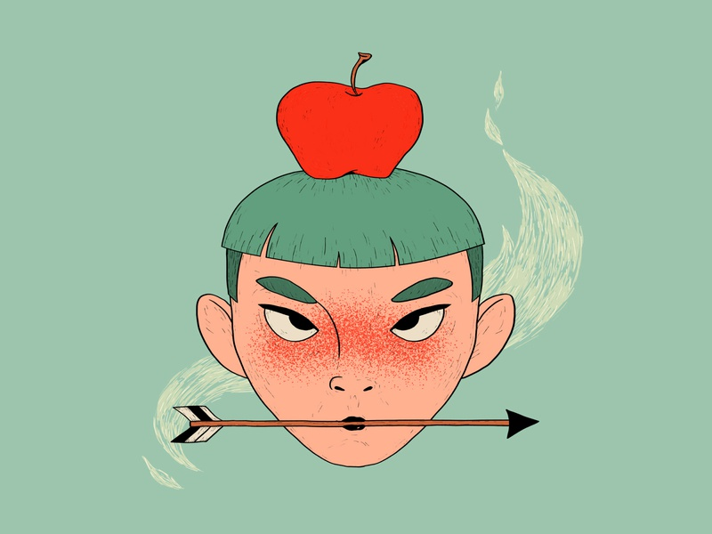 Not a feat apple-shot apple on head arrow apple green red texture character portrait wacom intuos illustration digital drawing design