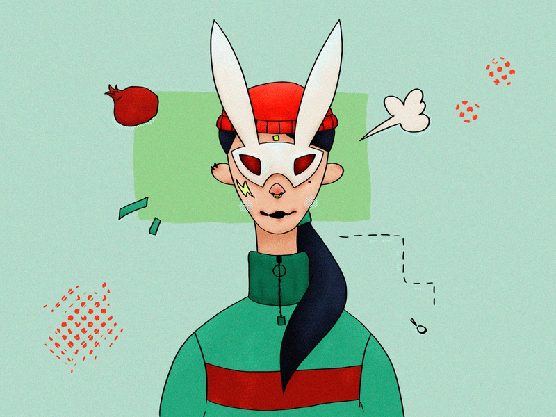 Bunny girl character bunny mask surreal green red texture character portrait wacom intuos illustration digital drawing design