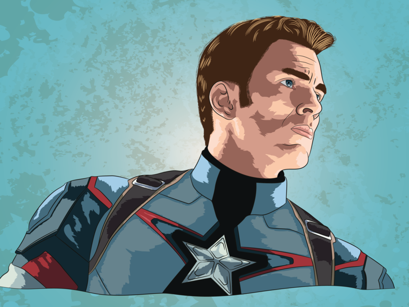 Captain America vector portrait art illustration vector art pop-art