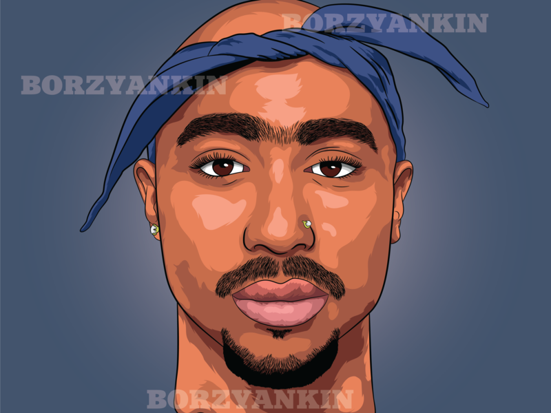 2pac 2pac vector portrait art illustration vector art pop-art