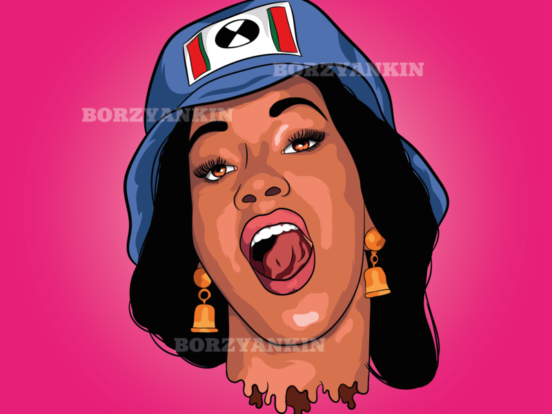 Cardi B cardi b portrait art vector illustration vector art pop-art