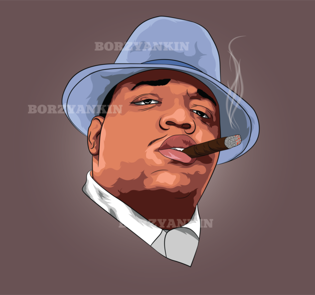 Notorious B.I.G portrait art vector illustration vector art pop-art