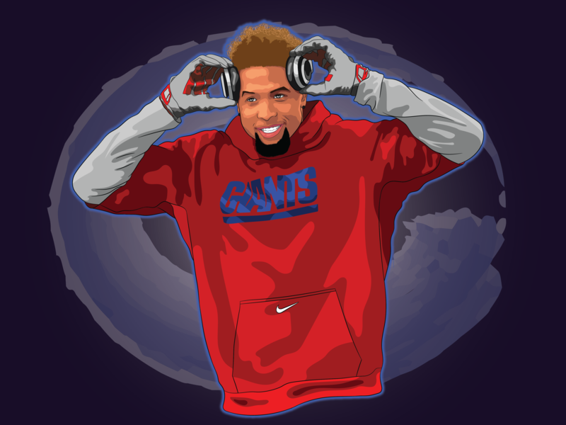 Odell Beckham design portrait art vector illustration vector art pop-art