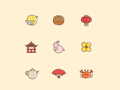 Chinese mid-autumn festival icons icon