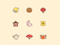 Chinese mid-autumn festival icons