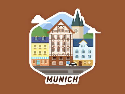 Munich City illustrator graphic illustrator