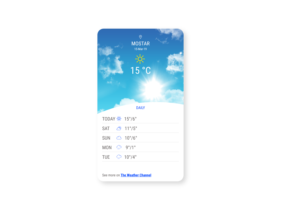DailyUI #037 Weather by Franka Ipša on Dribbble