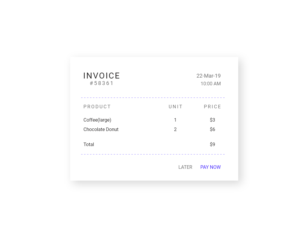 DailyUI #046 Invoice clean simple simple design typography invoice template invoice design invoice creative daily challenge mobile web app adobe xd ui dribbble design dailyui daily 100 challenge