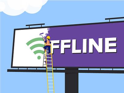 The Web is Moving Offline illustration construction painting billboard progressive web apps javascript service workers wifi offline web