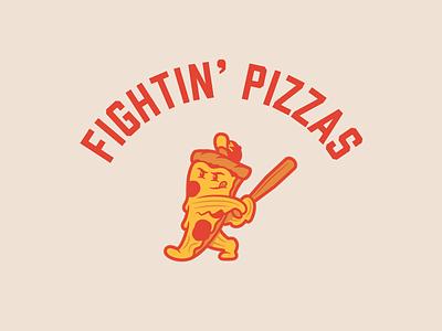 Zume Fightin Pizzas sports fightin bat swinging slice mascot softball baseball pizza zume