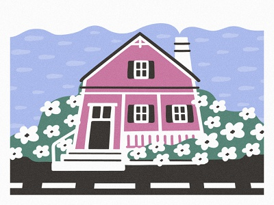 Sweet home vibes spring minimal illustration 2d cute home sweet design cartoon illustration vector