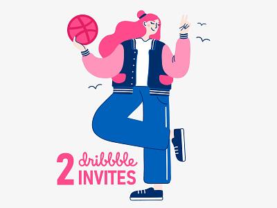 Dribbble Invites 2d minimal basketball design character giveaway dribbble invitation invite dribbble illustration vector